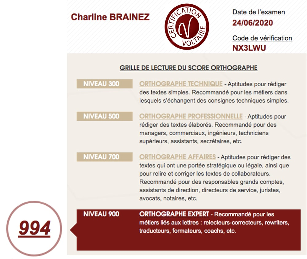 French native proofreader and translator with voltaire certificate
